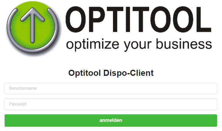 Optitool Webdisposition Login Screen